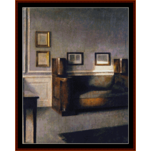 interior, 1905 - hammershoi cross stitch pattern by cross stitch collectibles