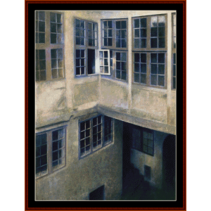 interior of courtyard - hammershoi cross stitch pattern by cross stitch collectibles