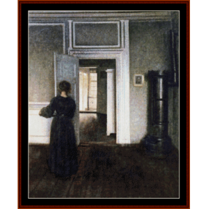 interior with stove - hammershoi cross stitch pattern by cross stitch collectibles