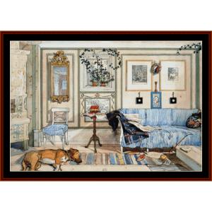 cozy corner - larsson cross stitch pattern by cross stitch collectibles