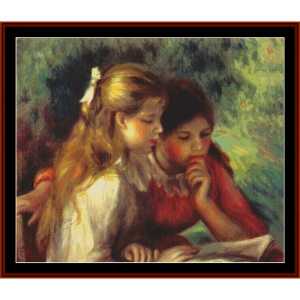 the reading - renoir cross stitch pattern by cross stitch collectibles