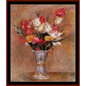 tulips, 1909 - renoir cross stitch pattern by cross stitch collectibles