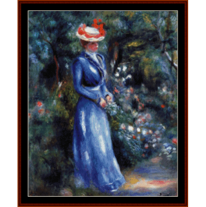 woman in blue dress - renoir cross stitch pattern by cross stitch collectibles