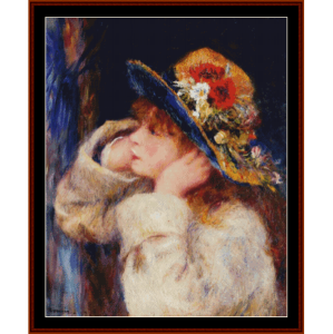 girl in flowered hat - renoir cross stitch pattern by cross stitch collectibles