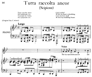 tutta raccolta ancor, aria for low voice in g minor. transposition for low voice. scipione hwv 20, g. f. händel, vocal score, ed. imc. 2pp a4