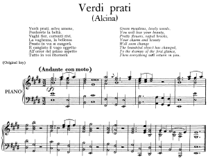 verdi prati, aria for contralto in e major (original key), low voice. alcina hwv 34, g. f. händel, vocal score, ed. imc. 3pp a4