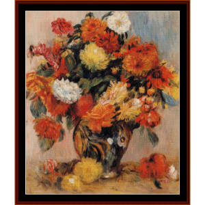 vase of flowers - renoir cross stitch pattern by cross stitch collectibles