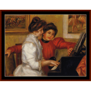 young girls at a piano - renoir cross stitch pattern by cross stitch collectibles