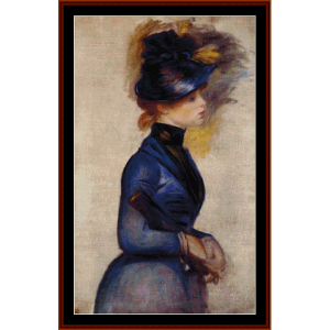 woman in blue - renoir cross stitch pattern by cross stitch collectibles