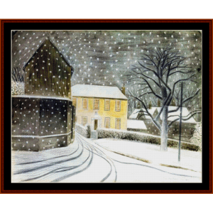 halstead row in the snow - ravilious cross stitch pattern by cross stitch collectibles