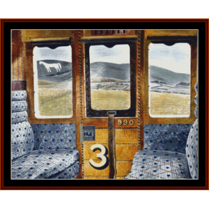 train landscape - ravilious cross stitch pattern by cross stitch collectibles