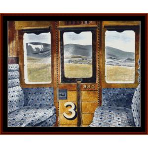 Train Landscape - Ravilious cross stitch pattern by Cross Stitch Collectibles | Crafting | Cross-Stitch | Other