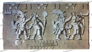Aztec bas-relief of ancient warriors, D.K. Bonatti, 1820 | Photos and Images | Travel