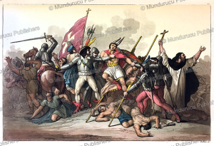 the inca king atahualpa (1502-1533) defeated and taken prisoner, gallo gallina, 1820