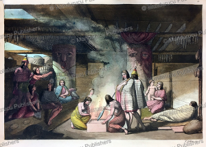 view of the inside of a nootka house, gallo gallina, 1820