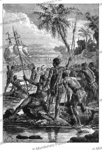 Akiaki Island of the Tuamotu Archipelago, near Tahiti, Paul Philippoteaux, 1870   Photos and Images   Travel