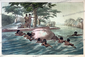 people crossing the ze´be´e (gibe) river on floating skins, ethiopia, gallo gallina, 1819