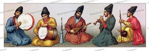persian musicians, auguste racinet, 1888