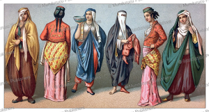 different types of dress for persian women when leaving their homes, auguste racinet, 1888