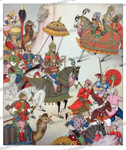 military expedition by the persian mughal emperor babur, auguste racinet, 1888