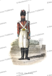 a persian foot soldier, frederic shoberl, 1822