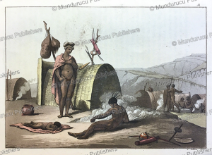 bushmen or san people cooking a meal, gallo gallina, 1819