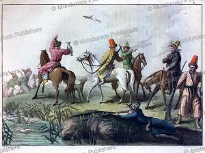 kyrgyz (kirghiz) hunt with eagles, gallo gallina, 1818