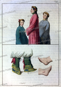 the dress of chinese and tartar women including binding the feet, g. bigatti, 1815