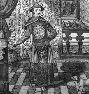 emperor kangxi (1654-1722) in imperial dress, athanasii kircheri, 1667