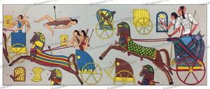chariots of war of ancient egypt, auguste racinet, 1888
