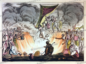 widow throwing herself into the fire of her dead husband, india, gaetano zancon, 1815
