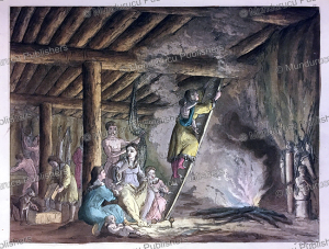 a view inside a house on kamchatka, gallo gallina, 1818