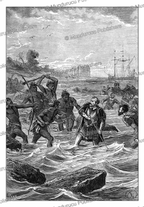 the death of ferdinand magellan near the philippines, paul philippoteaux, 1870