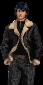 visual novel sprite: male sad smile