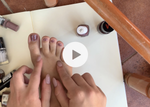 close up video of my feet - applying nail polish and massaging them