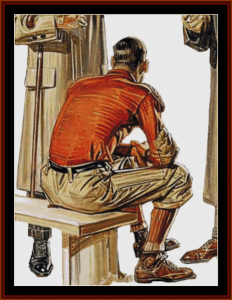 football player iii - leyendecker cross stitch pattern by cross stitch collectibles