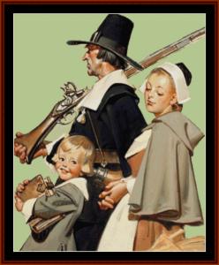 pilgrims - leyendecker cross stitch pattern by cross stitch collectibles