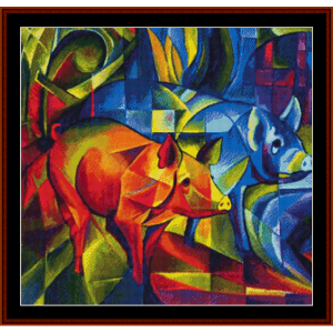 red and blue pigs - franz marc cross stitch pattern by cross stitch collectibles