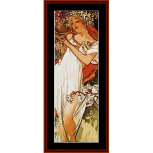 Spring 1896 - Mucha Mini cross stitch pattern by Cross Stitch Collectibles | Crafting | Cross-Stitch | Other