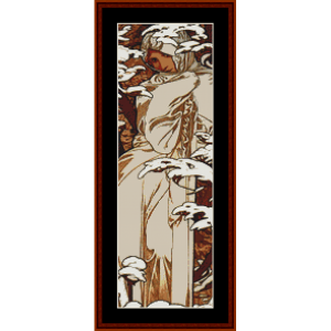 Winter 1897 - Mucha Mini cross stitch pattern by Cross Stitch Collectibles | Crafting | Cross-Stitch | Other