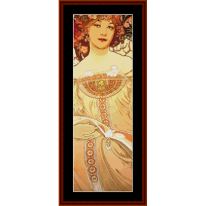 reverie - mucha mini cross stitch pattern by cross stitch collectibles