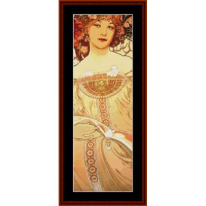 reverie - mucha mini cross stitch pattern by cross stitch collectibles