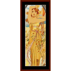 Day - Mucha Mini cross stitch pattern by Cross Stitch Collectibles | Crafting | Cross-Stitch | Other
