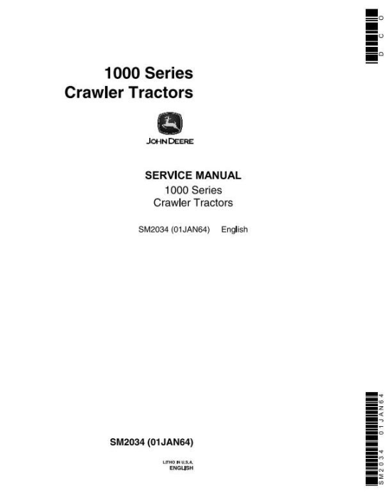First Additional product image for - John Deere 1010 Crawler Tractors Technical Service Manual (sm2034)