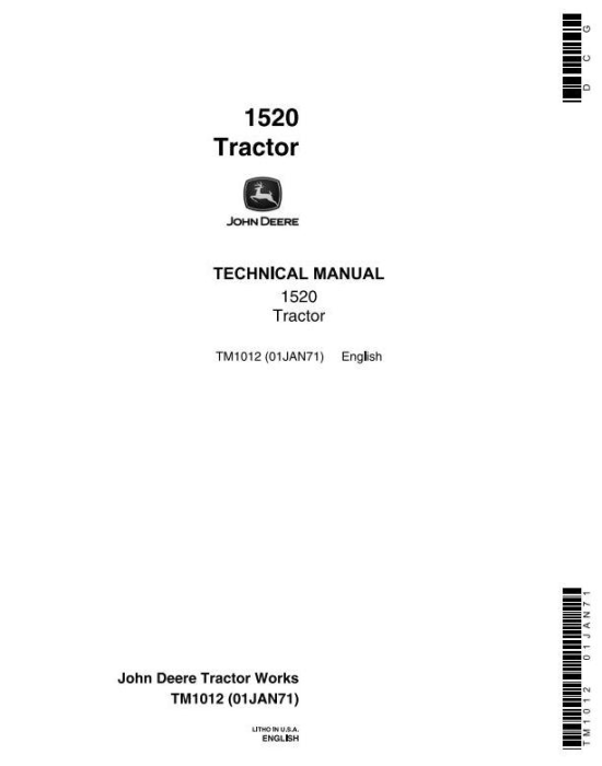First Additional product image for - John Deere 1520 Utility Tractor Technical Service Manual (tm1012)