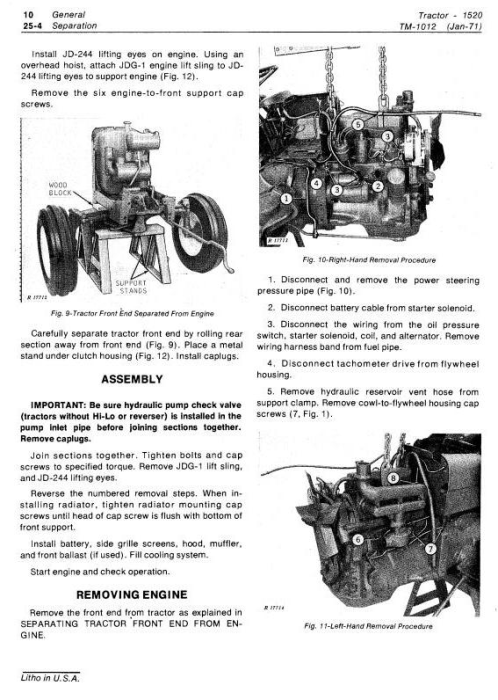 Second Additional product image for - John Deere 1520 Utility Tractor Technical Service Manual (tm1012)