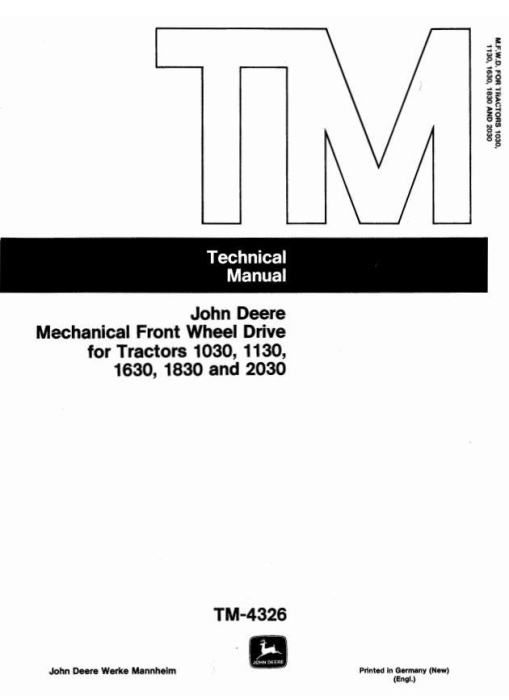 First Additional product image for - John Deere Front Wheel Drive for 1030, 1130, 1630, 1830, 2030 Tractors Component Technical Manual TM4326