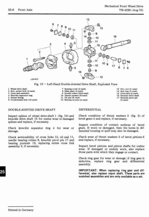 Fourth Additional product image for - John Deere Front Wheel Drive for 1030, 1130, 1630, 1830, 2030 Tractors Component Technical Manual TM4326