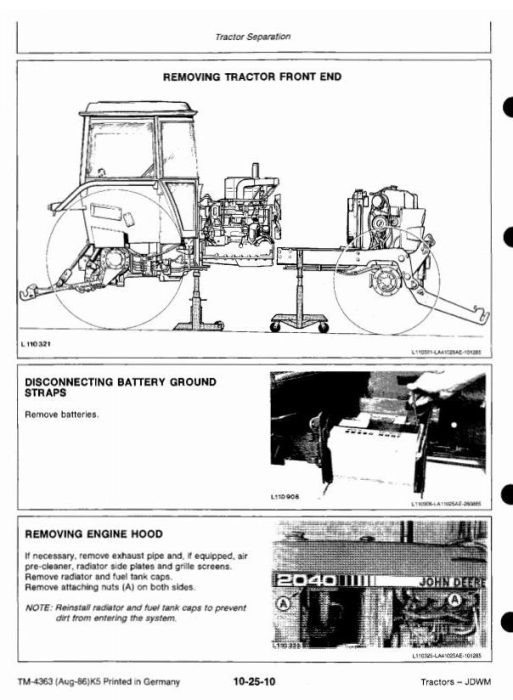 Second Additional product image for - John Deere 1640, 1840, 2040, 2040S Tractors Technical Service Manual (tm4363)