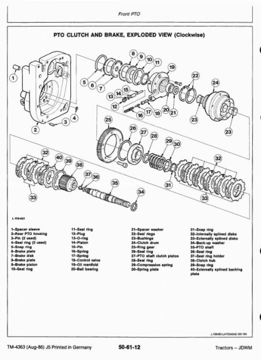 Third Additional product image for - John Deere 1640, 1840, 2040, 2040S Tractors Technical Service Manual (tm4363)
